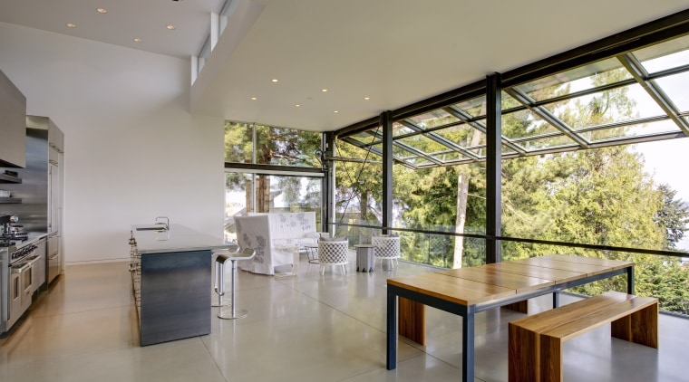 View of dining area. architecture, ceiling, condominium, daylighting, estate, floor, house, interior design, property, real estate, window, gray