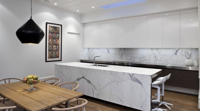 Designed by Morgan Cronin of Cronin Kitchens, this countertop, furniture, interior design, kitchen, product design, table, gray