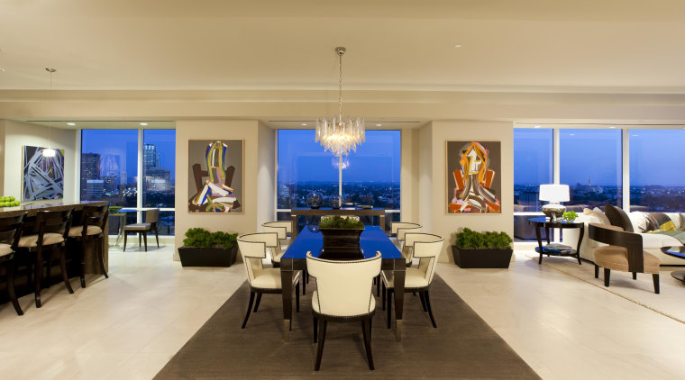 Interior view of contemporary home. apartment, dining room, interior design, living room, real estate, room, orange