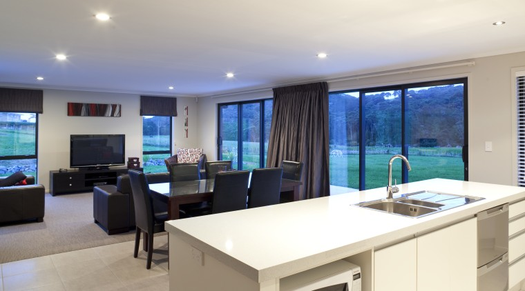 View of open plan kitchen, dining and lounge interior design, kitchen, property, real estate, white