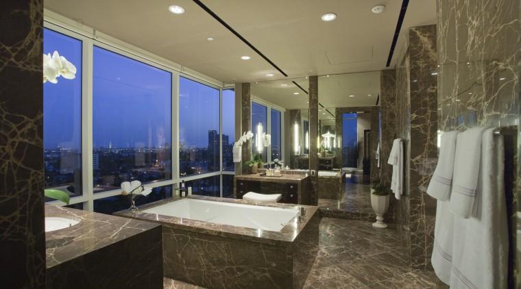 This master suite was designed by Jon Kreuger bathroom, estate, interior design, real estate, room, brown