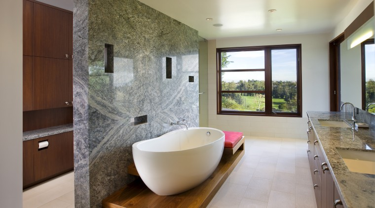 View of contemporary bathroom with stone wall and architecture, bathroom, estate, home, interior design, real estate, room, gray
