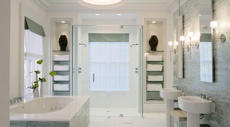 This bathroom, designed by Jamie Drake of Drake bathroom, ceiling, estate, floor, flooring, home, interior design, property, real estate, room, tile, window, gray