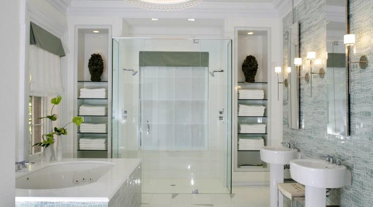 This bathroom, designed by Jamie Drake of Drake bathroom, ceiling, floor, home, interior design, plumbing fixture, room, tile, gray