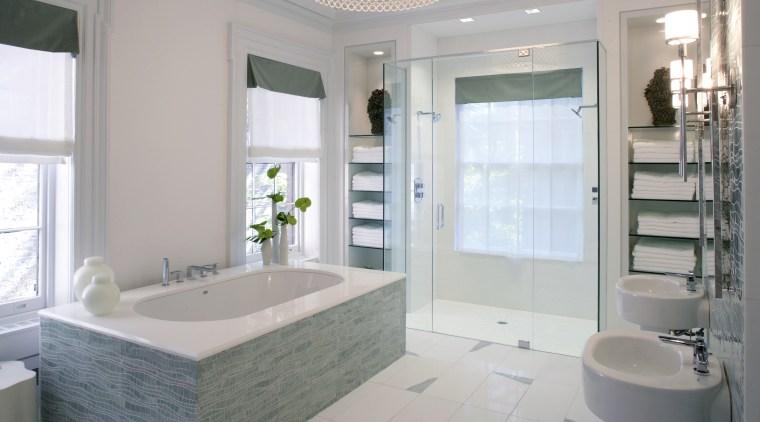 This bathroom, designed by Jamie Drake of Drake bathroom, floor, home, interior design, room, window, gray