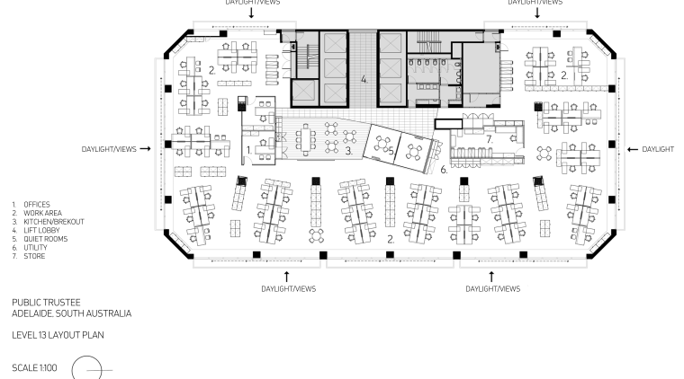 Floor plan for the offices of the Public area, black and white, design, diagram, drawing, floor plan, font, line, plan, product, product design, schematic, text, white