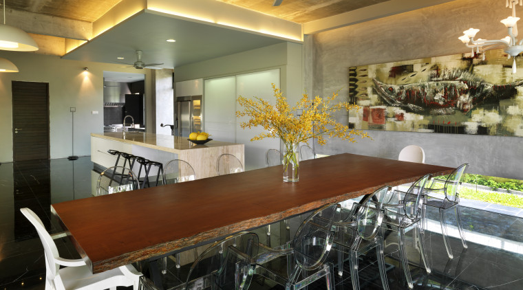 This house was designed by Dr Tan Loke ceiling, countertop, dining room, interior design, kitchen, real estate, room, brown