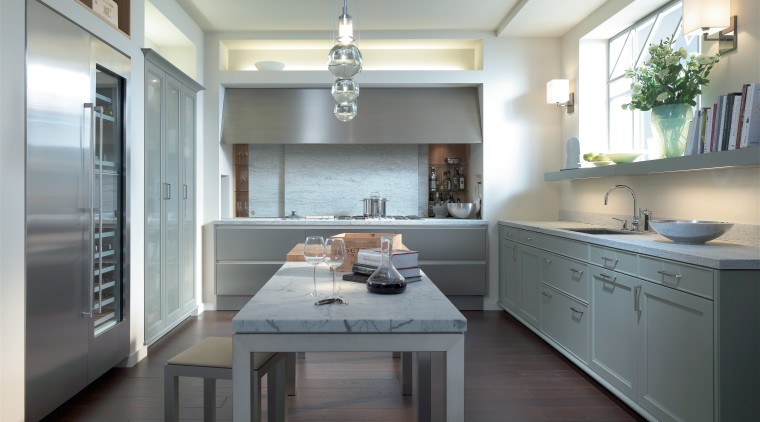 View of neutral-toned kitchen cabinetry, countertop, cuisine classique, interior design, kitchen, room, gray