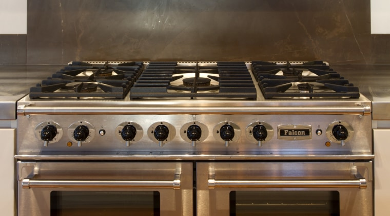The Falcon Continental from Aga Rangemaster Group, supplied countertop, gas stove, home appliance, kitchen, kitchen appliance, kitchen stove, major appliance, oven, brown