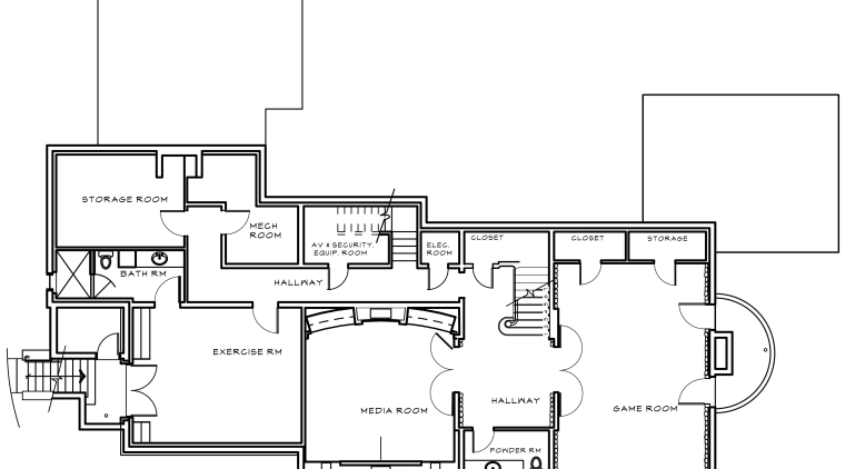 Floor plan of home. area, black and white, design, diagram, drawing, floor plan, font, line, plan, product, product design, technical drawing, text, white