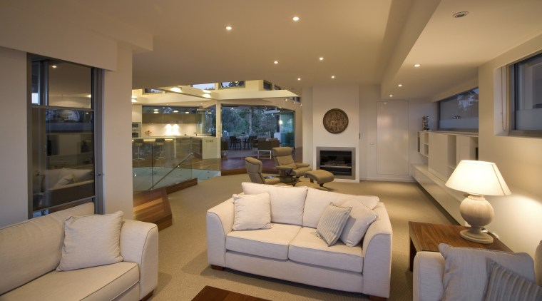 Graeme Alexander Homes. Lifestyle Residence. Angled wall planes. ceiling, home, interior design, living room, property, real estate, room, brown, orange