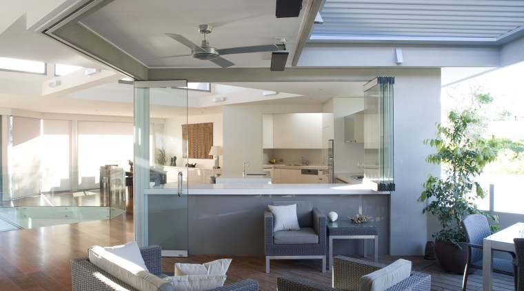 Graeme Alexander Homes. Lifestyle Residence. Angled wall planes. ceiling, daylighting, house, interior design, living room, real estate, gray