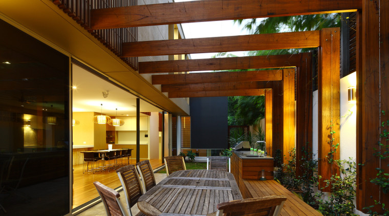 This house was designed by Kon Panagopoulos and architecture, deck, home, house, interior design, living room, outdoor structure, patio, real estate, brown