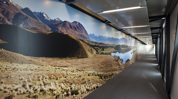 View of the interior of Christchurch Airport.Features various sky, tourist attraction, black, gray