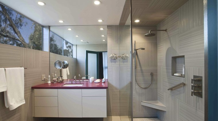 This bathroom was the winner of the small bathroom, ceiling, home, interior design, real estate, room, gray