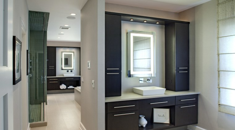 This bathroom that has been redesigned by Drury cabinetry, countertop, floor, home, interior design, kitchen, room, gray