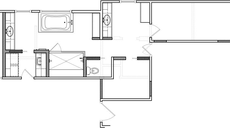 Here is the blueprint for the bathroom redesigned angle, area, black and white, design, diagram, drawing, floor plan, line, product, product design, square, technical drawing, text, white