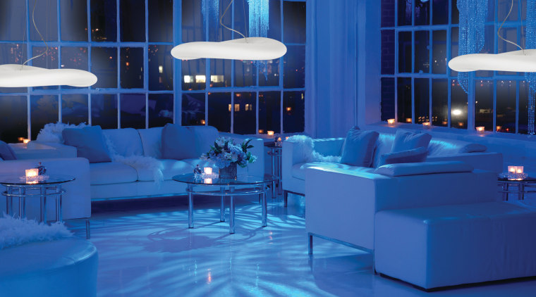 Lighting from the Lighting Network is seen here, blue, furniture, interior design, light, lighting, room, swimming pool, table, blue