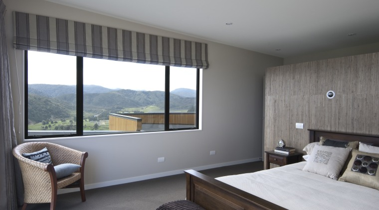 This Upper Hutt Show home was designed and architecture, bedroom, daylighting, house, interior design, real estate, room, window, gray