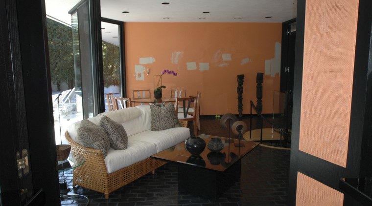 View of living area in a 1970's house apartment, architecture, house, interior design, living room, property, real estate, room, black
