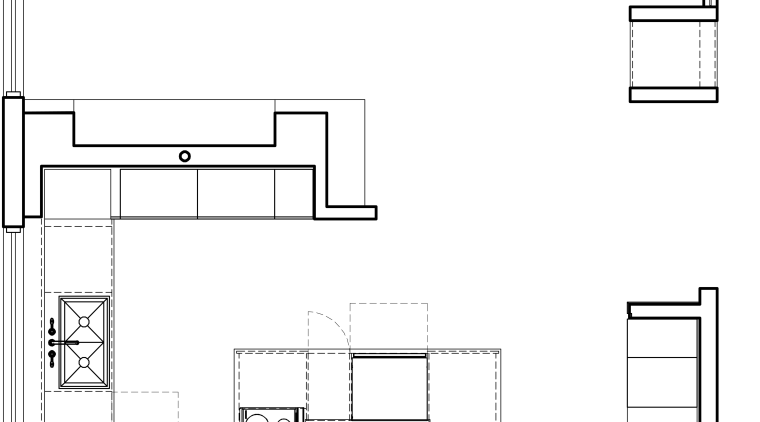 View fo kitchen remodelled with Zebrano Vaneer.  area, black and white, design, diagram, drawing, floor plan, font, line, plan, product, product design, structure, technical drawing, text, white