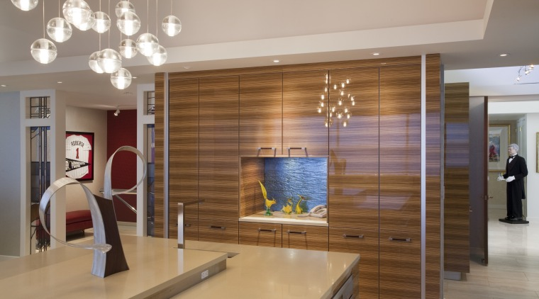View fo kitchen remodelled with Zebrano Vaneer. The ceiling, flooring, interior design, lobby, room, gray, brown
