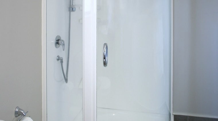This shower unit was designed by Showerdome. - angle, bathroom, plumbing fixture, product design, shower, gray