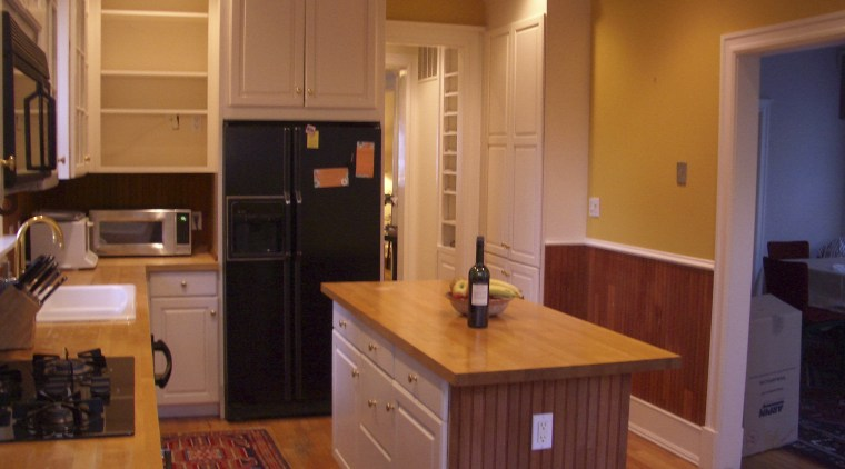 Before photo cabinetry, countertop, cuisine classique, floor, flooring, hardwood, home, interior design, kitchen, real estate, room, wood, wood flooring, brown