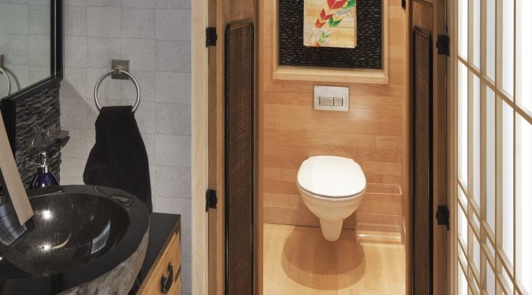 Swing doors provided a traditional feel and optimise bathroom, floor, flooring, interior design, room, tile, orange