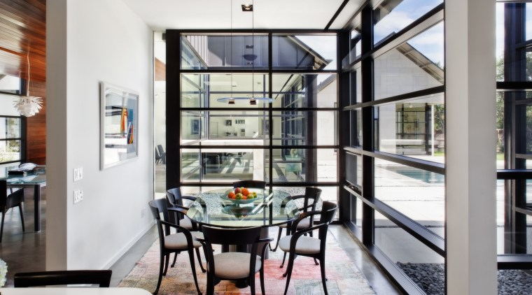 light-filled rooms and white walls. Floor-to-ceiling windows let interior design, window, white