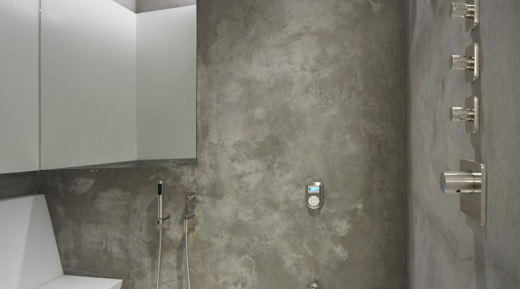 View of shower with grey walls and white architecture, bathroom, floor, interior design, plumbing fixture, room, tile, wall, gray