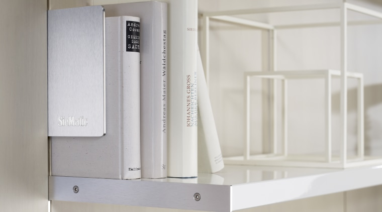 "Photography of the ""FloatingSpaces"" system by SieMatic. furniture, product, product design, shelf, shelving, gray"