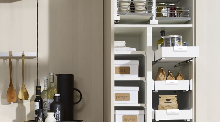 "Photography of the ""FloatingSpaces"" system by SieMatic. countertop, furniture, kitchen, refrigerator, shelf, shelving, white"