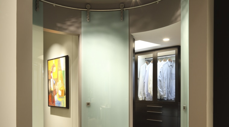 View of circular mirror feature. architecture, bathroom, ceiling, door, interior design, room, orange, brown