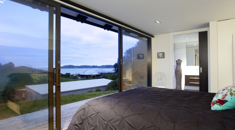 View of bedroom with view out of ranch bedroom, estate, home, house, interior design, property, real estate, room, window, gray, black