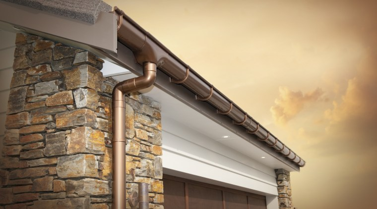 Here is a view of the new spouting beam, roof, wall, wood, orange, brown