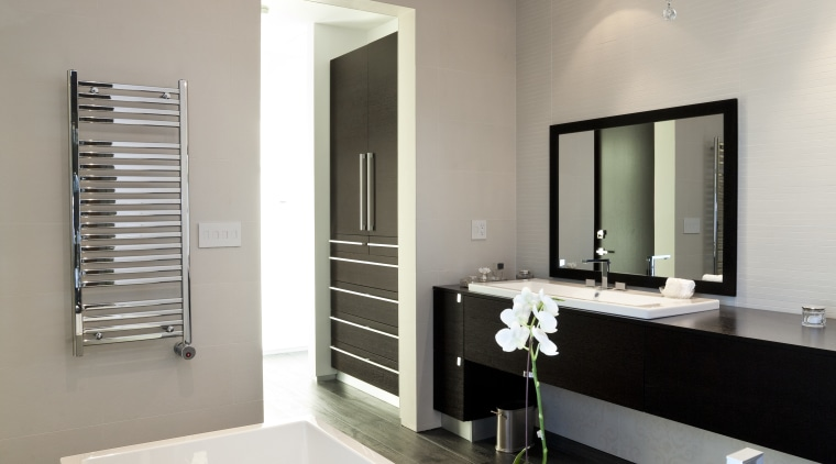 View of bathroom with dark flooring and white bathroom, ceiling, home, interior design, room, sink, gray