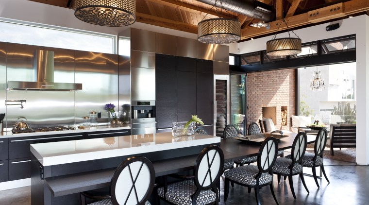 exposed timber ceiling, white glass benchtops, white and countertop, interior design, kitchen, real estate, white, black