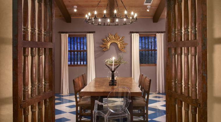 View through doorway to dining area with blue ceiling, estate, home, interior design, living room, lobby, real estate, room, window, brown