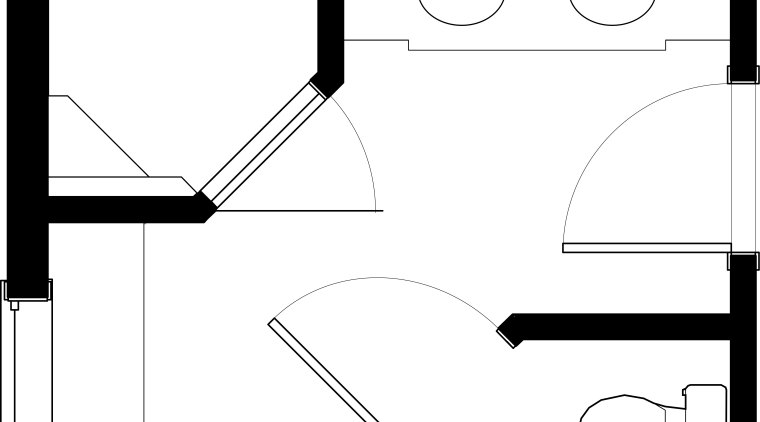 HINES Sons Bathroom Floorpan angle, area, black, black and white, design, diagram, drawing, font, line, line art, monochrome, product design, square, text, white, white