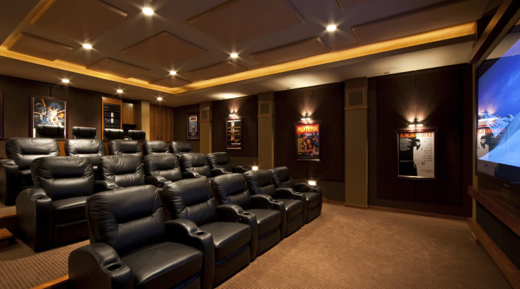 View of theatre room with dark seats. interior design, lobby, theatre, red, brown