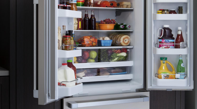 View of open fridge with freezer drawer and display case, home appliance, kitchen appliance, major appliance, product, refrigerator, gray, black