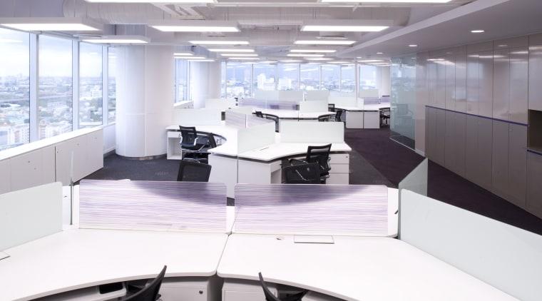 View of desks with dark carpeting. interior design, office, product design, white