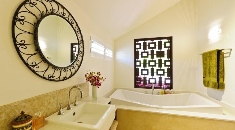 View of contemporary bathroom with round mirror and bathroom, estate, home, interior design, room, orange