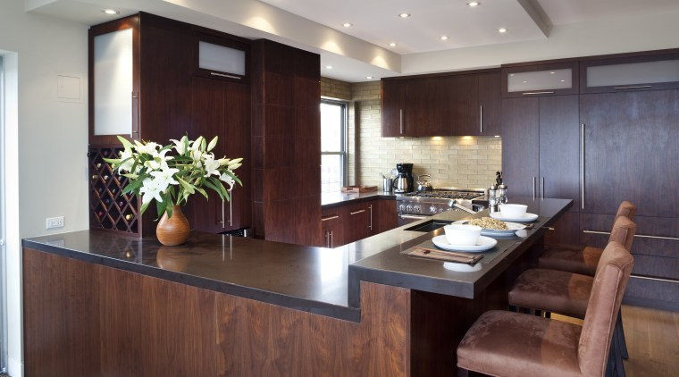 Dark wooden cabinetry, dark coloured benchtop, white walls cabinetry, countertop, interior design, kitchen, real estate, room, red, gray
