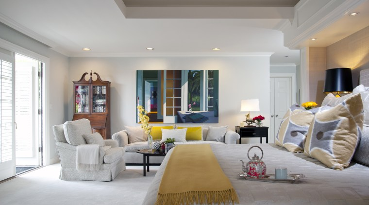 View of bedroom with white bedspread, yellow throw ceiling, estate, home, interior design, living room, property, real estate, room, wall, gray