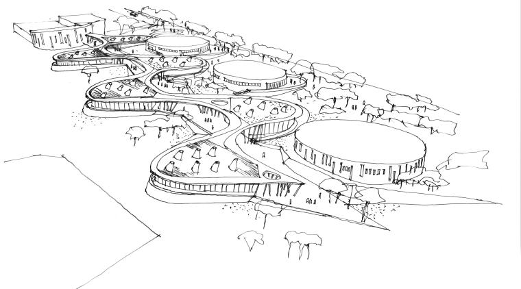 Sketch of school buildings area, artwork, automotive design, black and white, design, diagram, drawing, font, illustration, line, line art, monochrome, product design, sketch, white