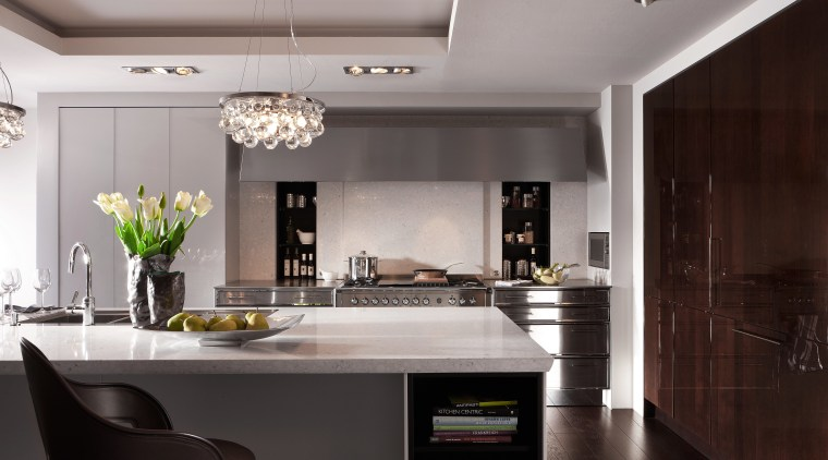 View of kitchen with dark wooden flooring and ceiling, countertop, cuisine classique, interior design, interior designer, kitchen, gray, black