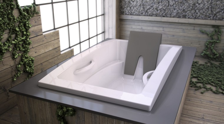 View of contemporary tub. angle, bathroom sink, bathtub, plumbing fixture, product design, sink, gray, white