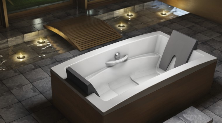View of contemporary tub. angle, bathtub, floor, jacuzzi, plumbing fixture, product design, sink, black